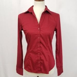 H&M Button Down Red Blouse Womens Size 6 Long
